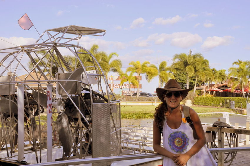 Airboat Cowboy Hat Everglades  Leisure Activity Looking At Camera Miami One Person Outdoors Real People Young Women
