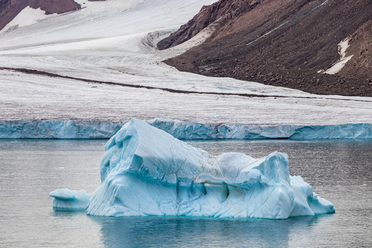 Panoramic view of glacier and iceberg against sky in nunavut, canadian arctic.