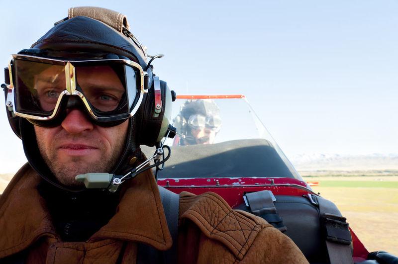 Biplane in Flight Plane Biplane Flight Headwear Pilot
