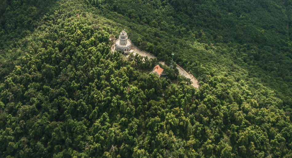 High angle view of building amidst trees on hill in forest