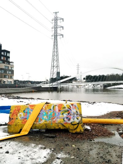 Yellow for the hope Cable Day Connection Electricity Pylon Outdoors Water Cold Temperature Bridge - Man Made Structure No People Built Structure Winter Snow Multi Colored