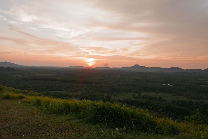 Banjarmasin Hills Beauty In Nature Day Field Grass Growth Landscape Mountain Nature No People Outdoors Scenics Sky Sun Sunset Tranquil Scene Tranquility