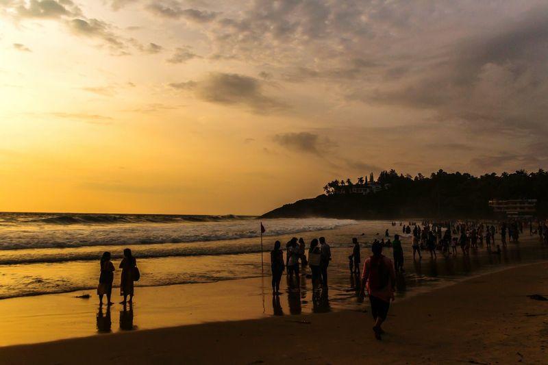 Happy Weekend :-) Sunset Silhouette Beach Sea Scenics Horizon Over Water People Nature Water Cloud - Sky Reflection Twilight Scene Outdoors Sky EyeEm Nature Lover EyeEm Gallery Kovalam Tourist_spot Seascape Keraladiaries