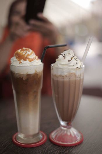 Drinking Glass Drink Ice Cream Indoors  Frozen Food No People Day Coffee Coffee Time Frapuccino Ice Blended Chocolate Whipping Cream Two Coffees Tea Time For The Soul Coffee Time ☕