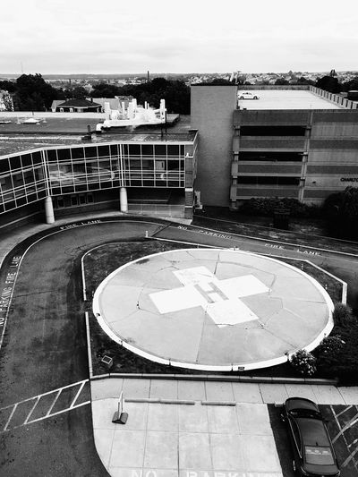 Built Structure Architecture Building Exterior Day Outdoors No People Hospital Helicopter Pad Concrete Pavement Parking Garage View From Above Blackandwhite Sky City Fall River, Massachusetts United States