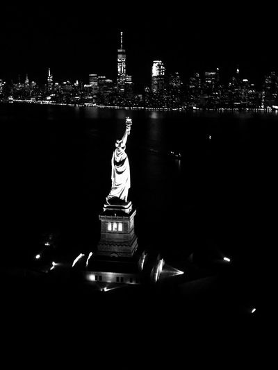 NYC, New York City Night Statue Illuminated City Cityscape Architecture Sculpture Built Structure Building Exterior Travel Destinations Outdoors No People Urban Skyline Sky EyeEmNewHere The Week On EyeEm