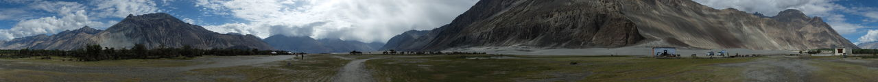 Beauty In Nature Cloud - Sky Day Grass Jammu And Kashmir Mammal Mountain Nature No People Nubra Valley NubraValley Outdoors Panorama Panoramic Panoramic Landscape Panoramic Photography Panoramic View Scenics Sky Water