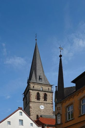 Himmel Und Wolken St. Maria Architecture Belief Building Building Exterior Built Structure Clock Cloud - Sky Kirchturmspitze Low Angle View Nature No People Outdoors Place Of Worship Religion Sky Spire  Spirituality Steeple Tower Warburg Altstadt
