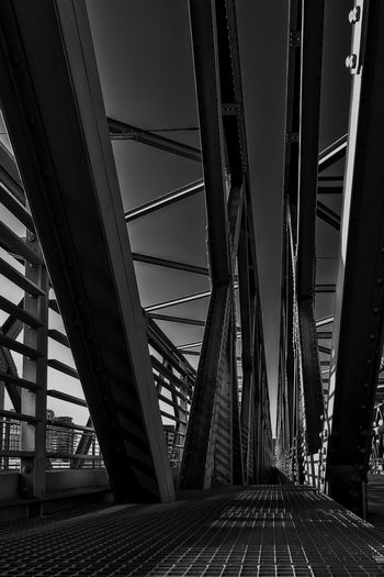 iron bridge Architecture Built Structure Connection Bridge Bridge - Man Made Structure Engineering Transportation Metal City The Way Forward Sky Nature Building Exterior Day Pattern Direction Diminishing Perspective Outdoors Road Modern Girder Architectural Column Steel Ceiling Long