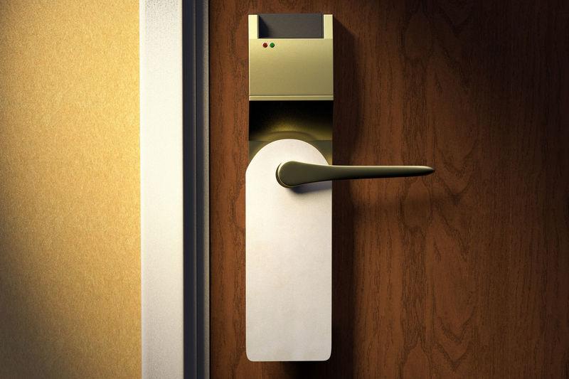 Close-up of handle on door