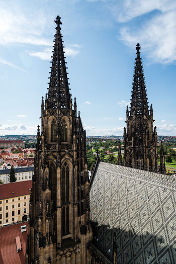 St Vitus Cathedral in Pargue Bohemia Cathedral City Czech Republic St. Vitus Cathedral Architecture Belief Building Building Exterior Built Structure City Gothic Style History Nature Outdoors Place Of Worship Religion Sky Spire  Spirituality Tourism Tower Travel Travel Destinations