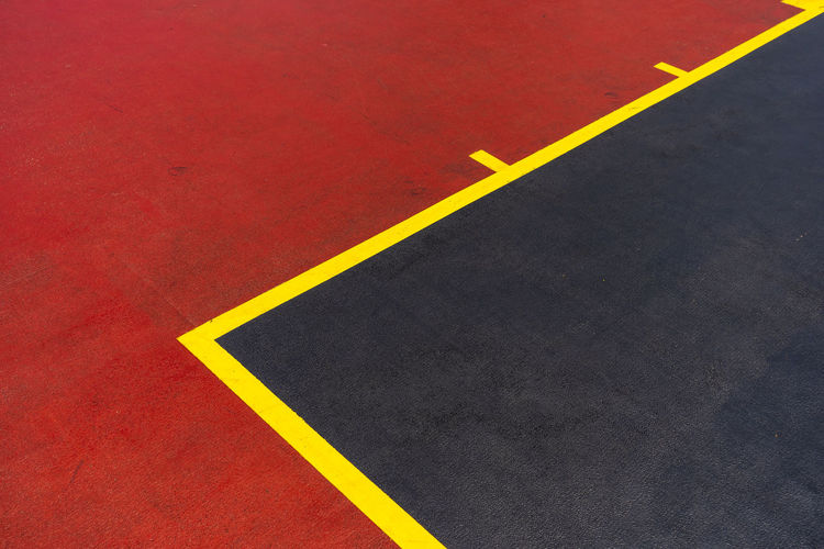 basketball play ground Sport Theme Sport Training Basketball Game Basketball Play Ground Yellow High Angle View No People Full Frame Marking Sign Road Marking Road Single Line Symbol Dividing Line Indoors  Transportation Flooring