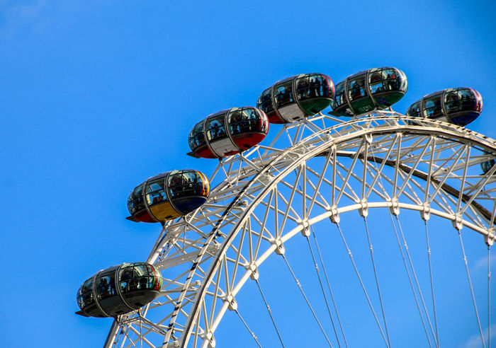 Amusement Park Amusement Park Ride Arts Culture And Entertainment Blue Carousel Carrousel Clear Sky Day Ferris Wheel London London Eye London EyeEm Meetup LondonEye No People Outdoors Roundabout Sky Vacations Adapted To The City The City Light EyeEm LOST IN London