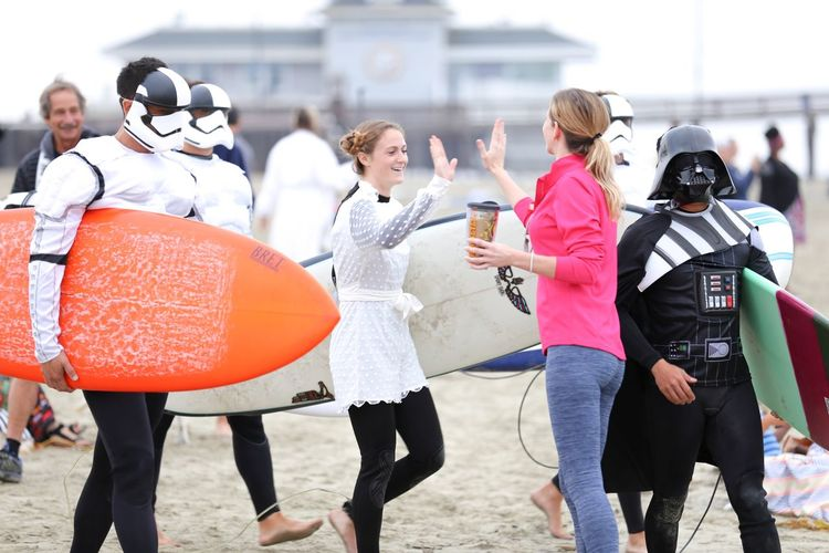Blackies Halloween Surf Contest Series • At a shoreline, far far away... Group Of People Day Outdoors Smiling People Young Adult Surfer Halloween Costumes Halloween_Collection Costume Halloween Lifestyles Star Wars Cosplay Cosplayer Darthvader Storm Trooper Princess Leia High Five! Star Wars Love Costumes Costume Party Halloween EyeEm Halloween 2017