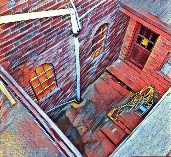 Back yard. Edited. Back Door View Fire Escape Stairs Backyard Edited My Way