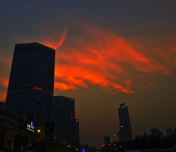 Repost City Life Photography Taking Photos Cloudscape Red Clouds Sunset Tianhe City Guangzhou Architecture Building Silhouette Before Dark