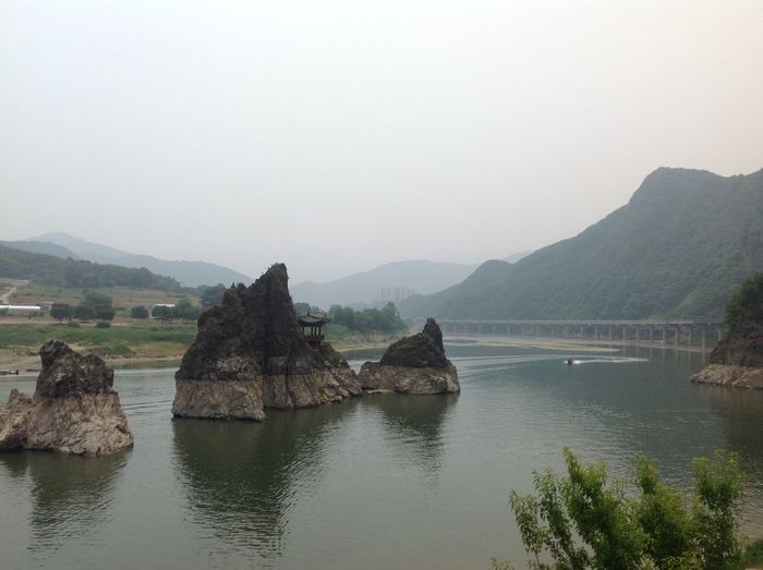 3 Sitting Women. Danyang South Korea Calm Danyang Lake Landscape Mountain Rock - Object Rock Formation Sky Stone Formation