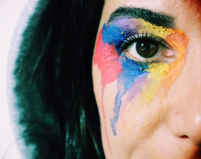 Every person that cross our path, paint us with some colors. Multi Colored Face Paint Human Eye One Person Real People Close-up Eyelash