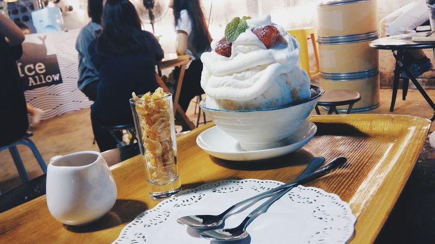 Frozen Yogurt Wipped Cream Stawberry Yummy Relaxing