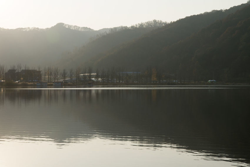 autumn lake of Mungwang Lake in Goesan, Chungbuk, South Korea Fall Beauty Mungwang Lake Autumn Lake Autumn Lakeside Beauty In Nature Day Fog Lake Lake In Autumn Lakeside Mountain Mountain Range Nature No People Outdoors Reflection Scenics Sky Tranquil Scene Tranquility Tree Water