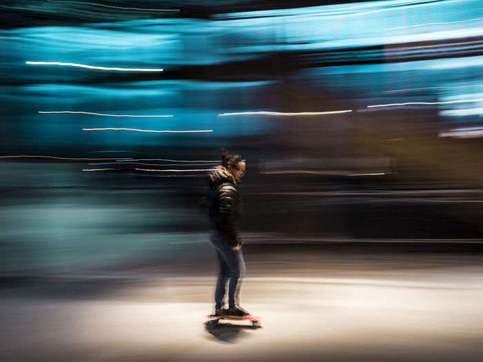Blue Bluelight Blurred Motion Casual Clothing Cruiser EyeEm Best Shots EyeEm Gallery Full Length Illuminated Leisure Activity Lifestyles Motion Need For Speed Outdoors Portrait Skate Skateboarding Speed Showcase June Fine Art Photography People And Places Skate Photography: Same Tricks, New Perspectives