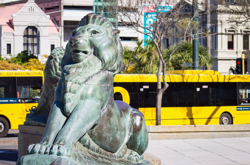 The Bronze lions at the Wellington Cenotaph, with a Yellow Wellington Go bus in the background against inner city buildings. Bronze Lion Travel Wellington  Animal Representation Animal Themes Architecture Art Art And Craft Arts Culture And Entertainment Building Building Exterior Built Structure Bus Cenotaph City Day Landmark New Zealand No People Outdoors Sculpture Statue Travel Destinations