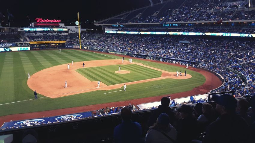 Sport Stadium Outdoors Grass Competition Floodlit Night Baseball - Sport People Match - Sport Sports Team Royals Baseball DiamondSoccer Baseball Diamond Crowd Budweiser Kauffmanstadium Kansas City Kansas City Missouri  Kansas City Royals