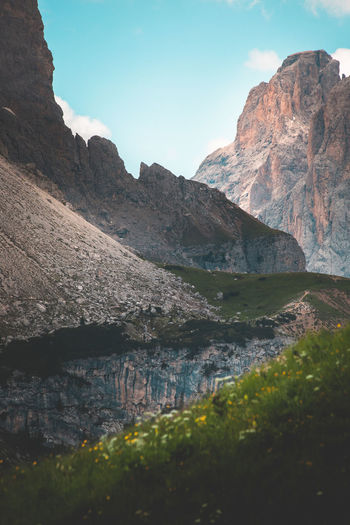 The Dolomites around Val Gardena Sky Nature Mountain Dolomites Alps Alps Italy Green Color Tranquility Landscape_photography Landscape Day Scenics - Nature Rock Beauty In Nature Rock - Object Mountain Range No People Outdoors Eroded Langkofel Sella Group Dolomites