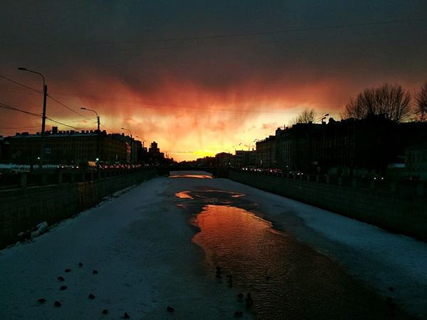 Sky Orange Color Nature Outdoors Architecture Silhouette Environment Plant Cloud - Sky Tree Sunset Scenics - Nature No People Reflection Beauty In Nature Tranquility Dusk Dramatic Sky Water Obvodny Kanal Embankment, Saint Petersburg, Russia Obvodnoy Kanal Still Life