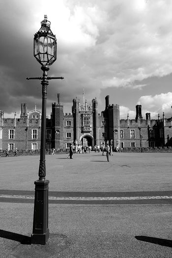 Hampton Court Palace Architecture Cloud Sky Street Light Light And ShadowBlack & White Entrance Medieval Architecture Henry VIII Historical Building London Lamp Post People Non Recognizable People