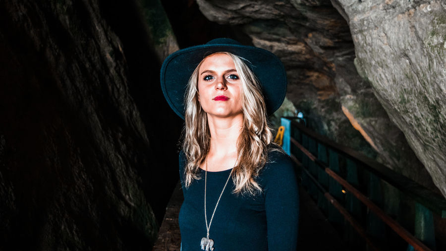 Hat San Diego Beautiful Woman Blond Hair Caves Day Front View La Jolla Looking At Camera Medium-length Hair One Person Outdoors Portrait Real People Standing Young Adult Young Women