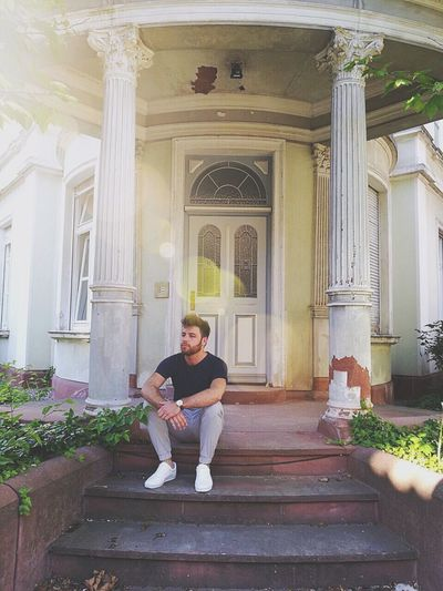 Architecture Building Exterior Built Structure Day Full Length Guy Lens Flare Lifestyles Model Old House One Person Real People Sitting Sitting Sumer White Shoes Young Adult BYOPaper!