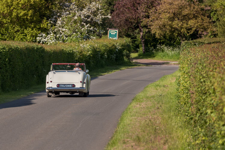 A lone man drives his open top classic car along a summer hedgerow lined countryside road towards a bend. Classic Car Car Communication Countryside Day Direction Drive Grass Green Color Land Vehicle Mode Of Transportation Motor Vehicle Nature No People Open Top Outdoors Plant Road Road Trip Sign Sunlight The Way Forward Transportation Travel Tree