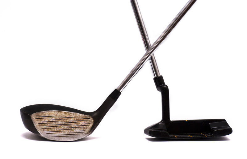 Isolated golf equipment on white background. Ball Close-up Competition Cut Out Equipment Game Golf Golf Is My Life ⛳️ Golf ⛳ Golfing Isolated Isolated On White Isolated White Background Man Made Object Metallic No People Old Putter Shaft Sport Still Life Studio Shot Two Objects Vintage White Background