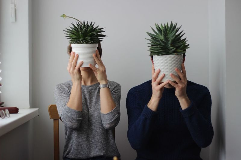 Couple Holding Potted Plant While Sitting On Chair Against Wall At Home