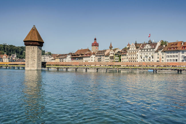 Lake lucerne cityscape Cityscape Architecture Building Exterior Buildings Built Structure Chain Bridge City Day Lake Lake Lucerne Nature No People Outdoors River Sky Travel Destinations Water Waterfront