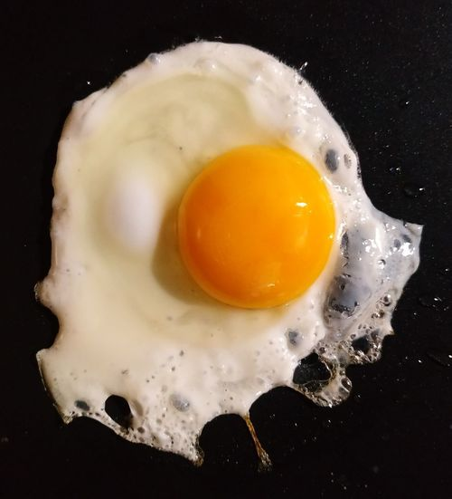Close-up of egg in frying pan