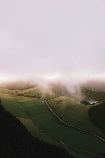 Fog at sunset Outdoors Adventure Portugal Azores Nature Travel Destinations Landscape Environment Tranquil Scene Land Tranquility Sky Scenics - Nature Field Beauty In Nature Rural Scene Agriculture Nature Farm No People Plant Day Green Color Growth Cloud - Sky Capture Tomorrow