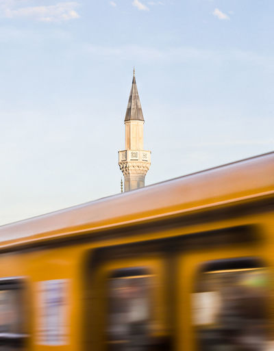 Berlin Love Commuter Train Commuting Berlin Photography Architecture Berliner Ansichten Building Exterior Built Structure City Day Islam Islamic Architecture Low Angle View Minaret Mosque Muslim No People Outdoors Religious  Religious Architecture Sky Transportation Mobility In Mega Cities Colour Your Horizn