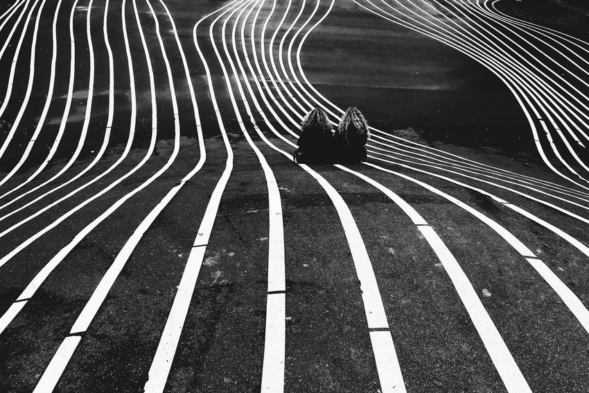 Monochrome Twins Blackandwhite Stripes Road Art Copenhagen Travel Destinations Travel Photography Streetphotography Street Outdoors Day Real Photography The Week On EyeEm Lifestyles Rear View Leisure Activity Playground Friendship Enjoying The View Enjoying Life Fresh On Market 2017