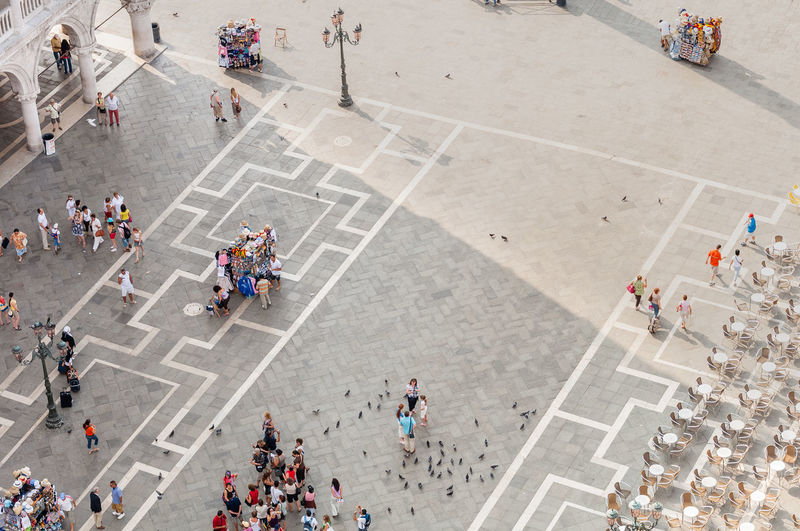 High Angle View Of People At St Mark Square