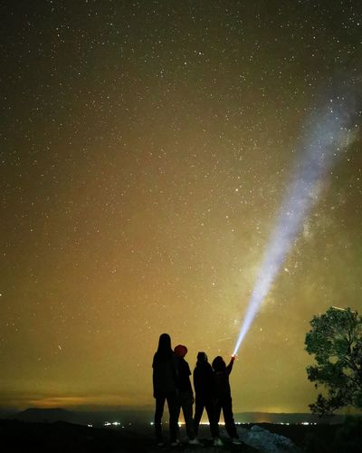 Silhouette friends with illuminated flashlight against star field