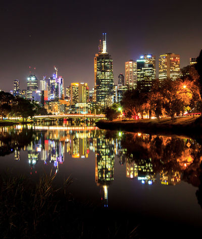 Melbourne city reflected in the Yarra River Architecture Building Building Exterior Built Structure City Cityscape Financial District  Illuminated Landscape Modern Nature Night No People Office Building Exterior Outdoors Reflection Sky Skyscraper Tall - High Urban Skyline Water
