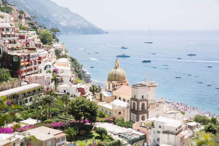 Amalfi Coast Coastline Italian Town Positano, Italy Architecture High Angle View Horizon Over Water Italy Positano Sea Travel Destinations Water