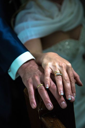 Midsection Of Bride And Groom Wearing Rings