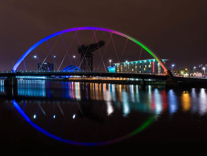 Reflection of bridge and building in water at night