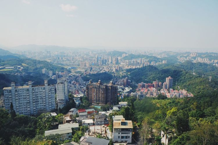 Travel Destinations Cityscape City Building Exterior Architecture Built Structure Modern Skyscraper Residential Building Tree Outdoors Sky No People Day Taiwan Travel View From Above Maokong Maokonggondola Tourism Explore Nature