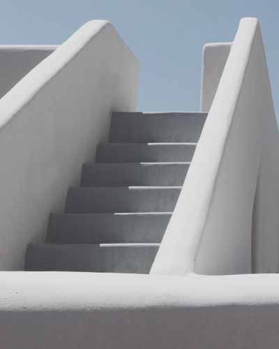Staircase Steps And Staircases Steps Architecture Railing Built Structure No People Low Angle View Day Indoors  Whitewashed Building Exterior Modern Hand Rail Close-up Sky EyeEmNewHere Santorini, Greece The Week On EyeEm Santorini Architecture Low Angle View