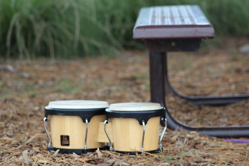 Bongo drums by picnic table on field
