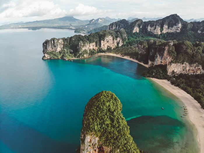 Top view of the bay in Thailand Water Sea Rock Tranquil Scene Scenics - Nature Rock - Object Nature Tranquility Beauty In Nature Solid Day Land Rock Formation Mountain No People Sky Turquoise Colored Idyllic High Angle View Outdoors Formation Bay Dronephotography Thailand Thailand Beach